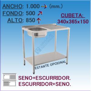 Fregadero con hueco para Lavavajillas de 1000x500 mm.