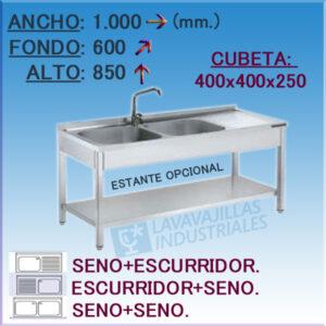 Fregadero Industrial Inoxidable de 1.000x600 mm.