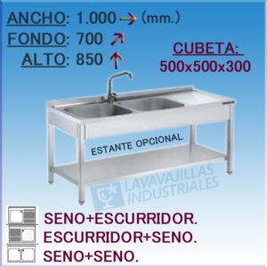 Fregadero Industrial Inoxidable de 1.000x700 mm.