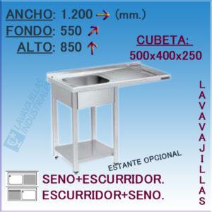 Fregadero con hueco para Lavavajillas de 1200x550 mm.