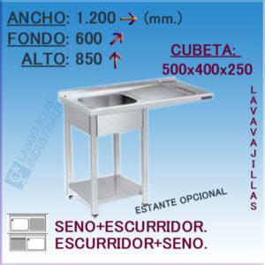 Fregadero con hueco para Lavavajillas de 1200x600 mm.