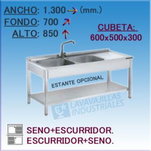 Fregadero Industrial Inoxidable de 1.300x700 mm.