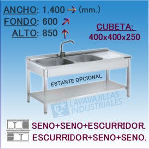 Fregadero Industrial Inoxidable de 1.400x600 mm.