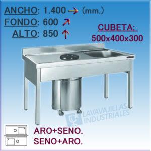 Fregador con aro desbarace 1400X600