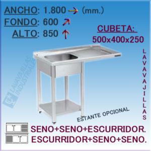 Fregadero con hueco para Lavavajillas de 1800x600 mm.