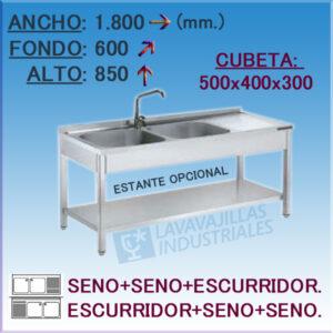 Fregadero Industrial Inoxidable de 1.800x600 mm.