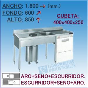 Fregadero con cubeta y Aro desbarazado especial Lavavajillas de 1800x600 mm.