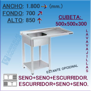 Fregadero con hueco para Lavavajillas de 1800x700 mm.