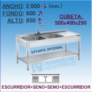 Fregadero Industrial Inoxidable de 2.000x600 mm.