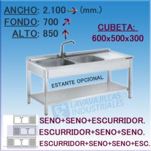 Fregadero Industrial Inoxidable de 2.100x700 mm.