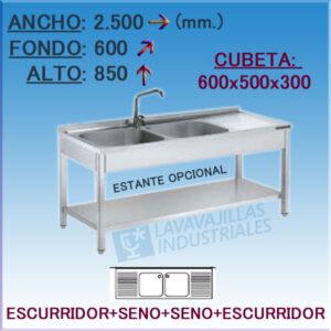 Fregadero Industrial Inoxidable de 2.500x600 mm.