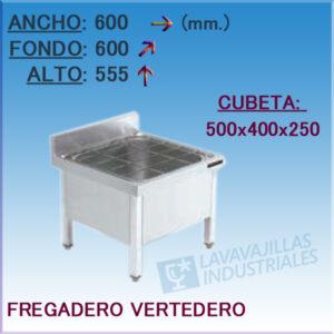 Fregadero Vertedero Industrial Inoxidable de 600x600 mm.