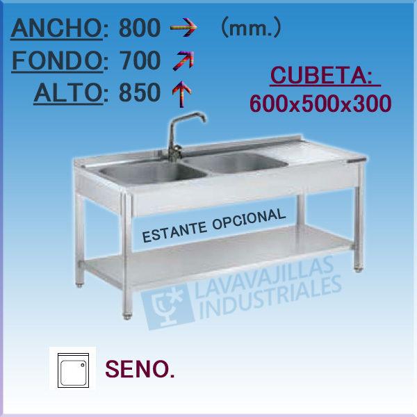 Fregadero Industrial Inoxidable de 800x700 mm.