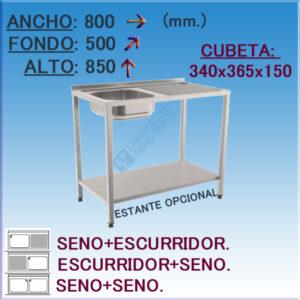 Fregadero industrial Inoxidable 800x500 mm.