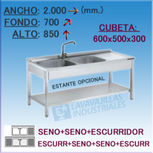FREGADOR INDUSTRIAL 2000X700 mm.